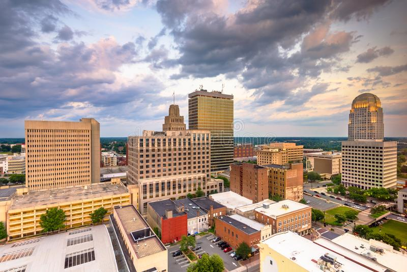 Winston-Salem, North Carolina, USA skyline from above. At dusk royalty free stock photography