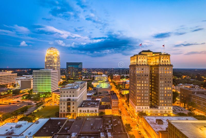 Winston-Salem, North Carolina, USA. Skyline at dusk stock photos