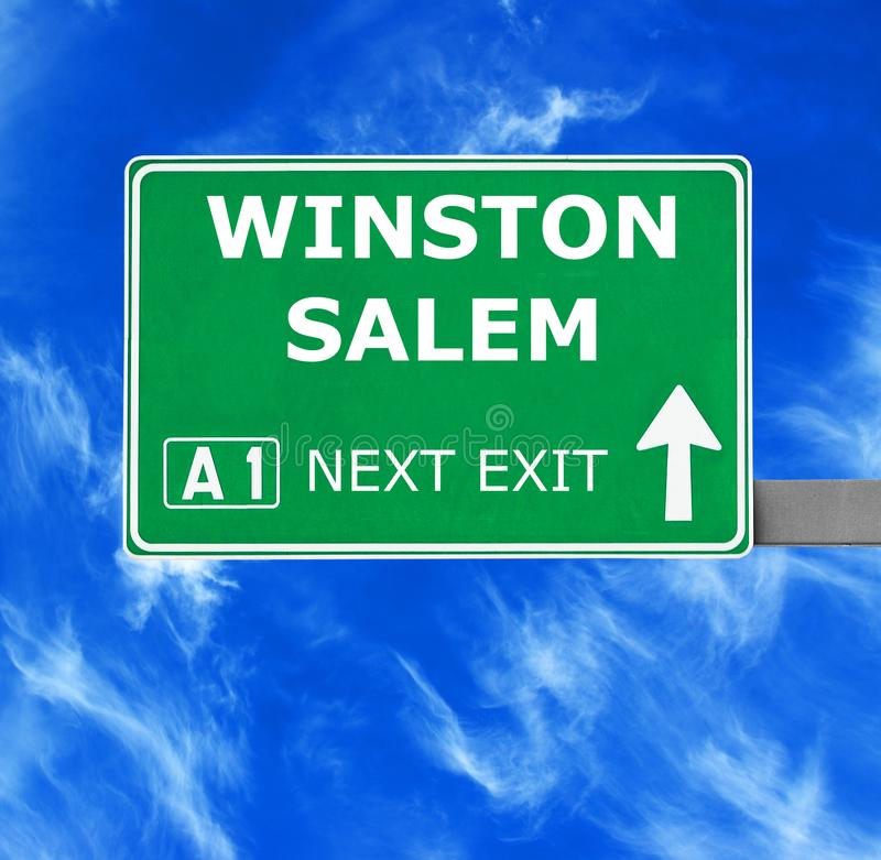 WINSTON SALEM road sign against clear blue sky stock image