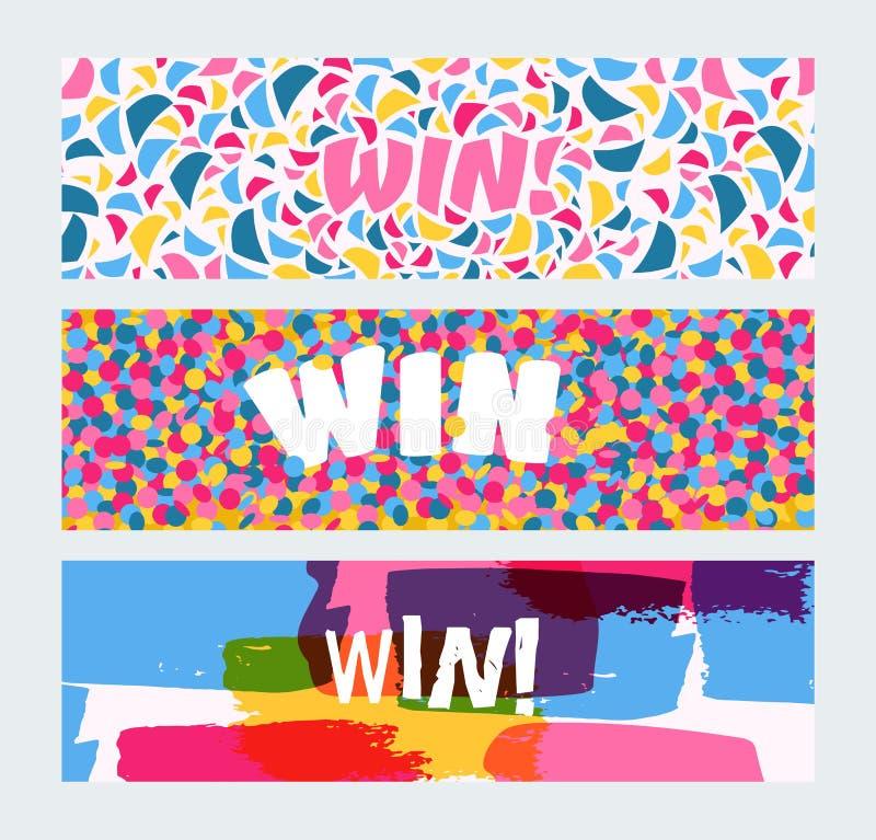 Winstteken met heldere confettien, de reeks van waterverfkwaststreken van banners vectorillustratie Gelukwensenwinnaar binnen royalty-vrije illustratie