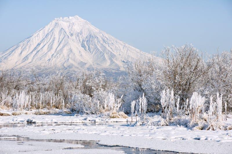 Download Winter stockfoto. Bild von spitze, rauhreif, blau, kamchatka - 12201890