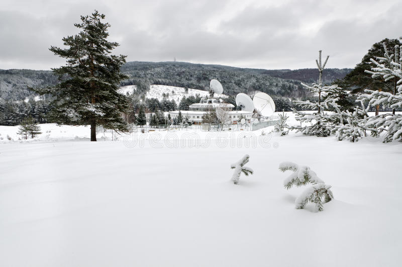 Winter. Landscape with satellites and woods stock photo