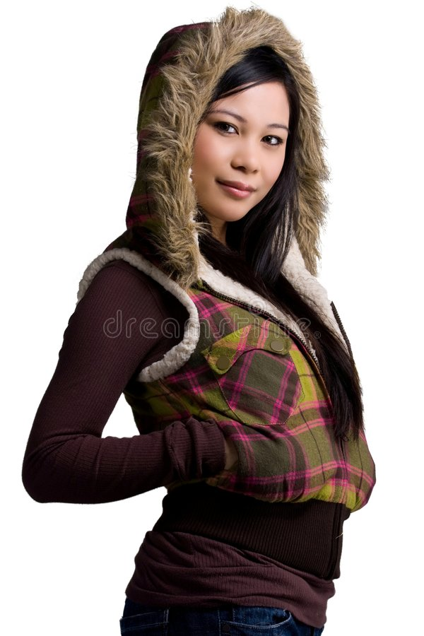 WINTER. A model wearing a winter clothes stock photo