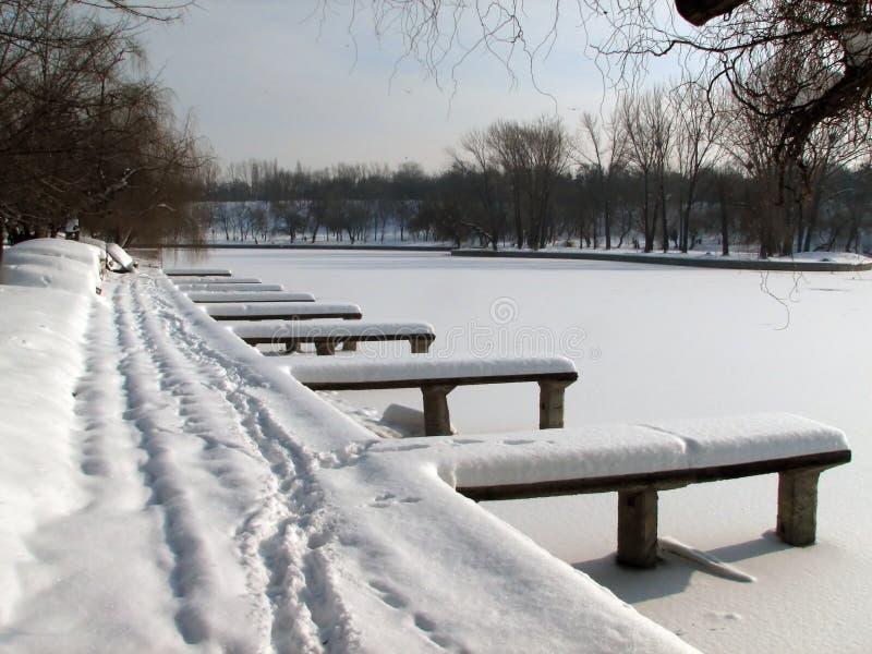 Winter abandoned dock stock photography