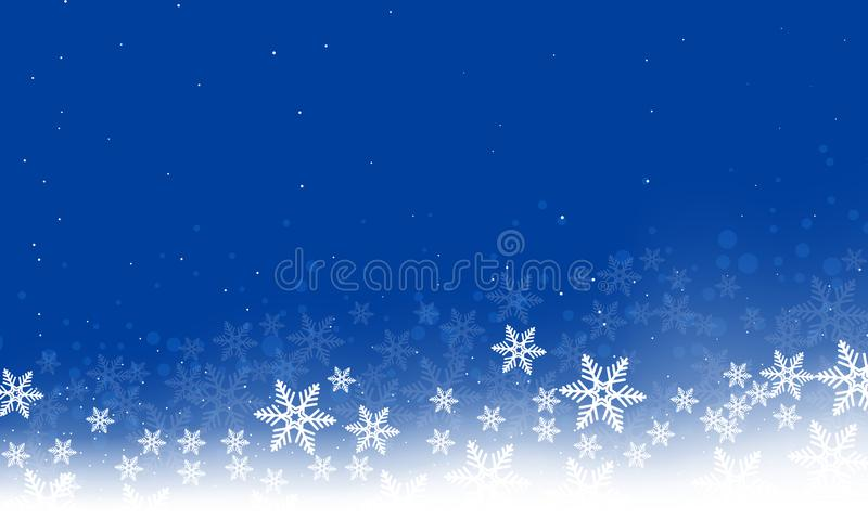 Winter abstract landscape of snowflakes vector illustration