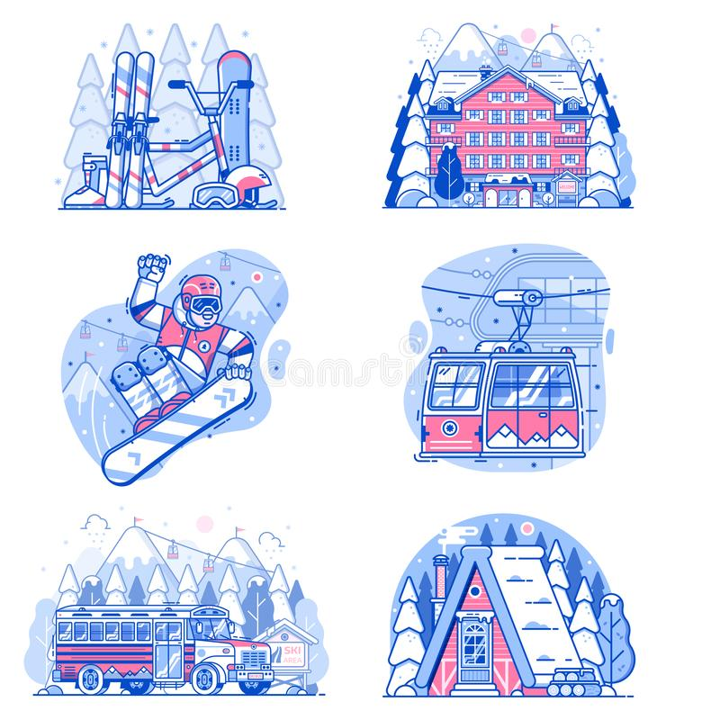 Winter Active Holidays Ski Resort Vacation vector illustration