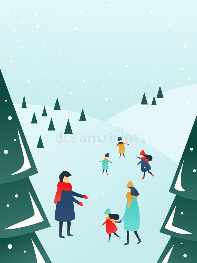 Parents and children playing outside with snow. Winter activities in the forest, happy parents and children playing outside with snow. Perfect scene for a royalty free illustration