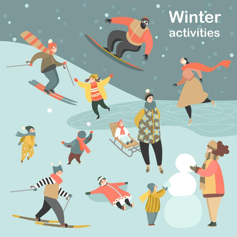 Winter activities set with people skiing, skating, snowboarding and children making snowmen and playing snowballs. stock illustration