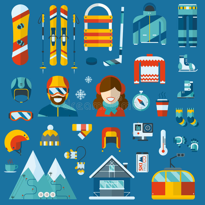 Winter Activity Flat Icon Collection vector illustration