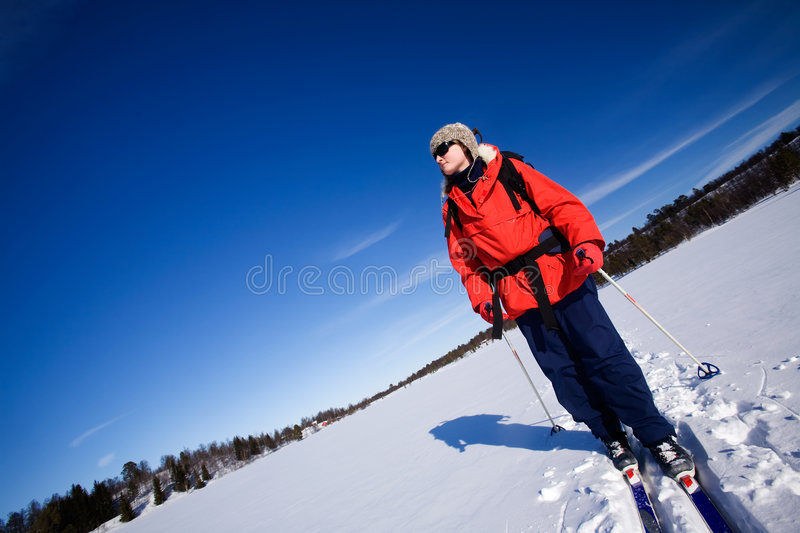 Winter Advture Skiing stock images