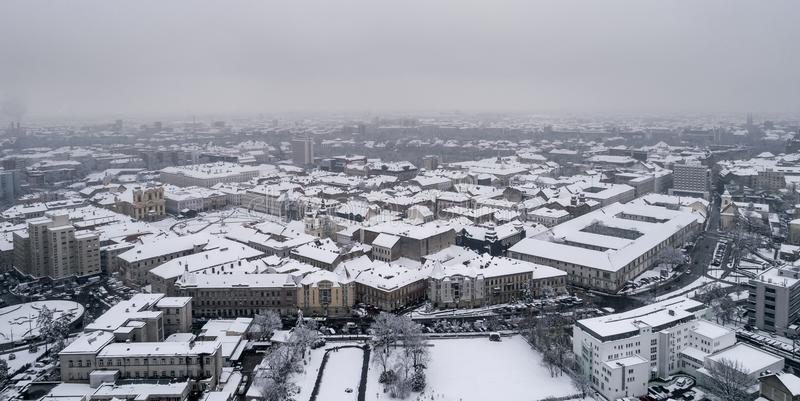 Winter aerial view from Timisoara. Taken by a professional drone royalty free stock photography