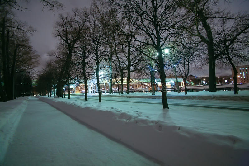 Download Winter Alley Along The Moscow River Stock Photo - Image: 83712448