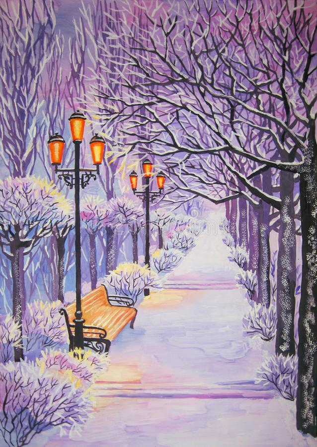 Winter alley in the snow with lights and trees. Winter alley in the snow with lights, bench and trees in twilight. gouache