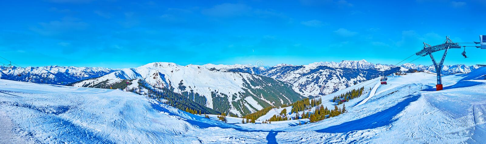 Winter Alpine landscapes of Schmitten mount, Zell am See, Austria stock photography