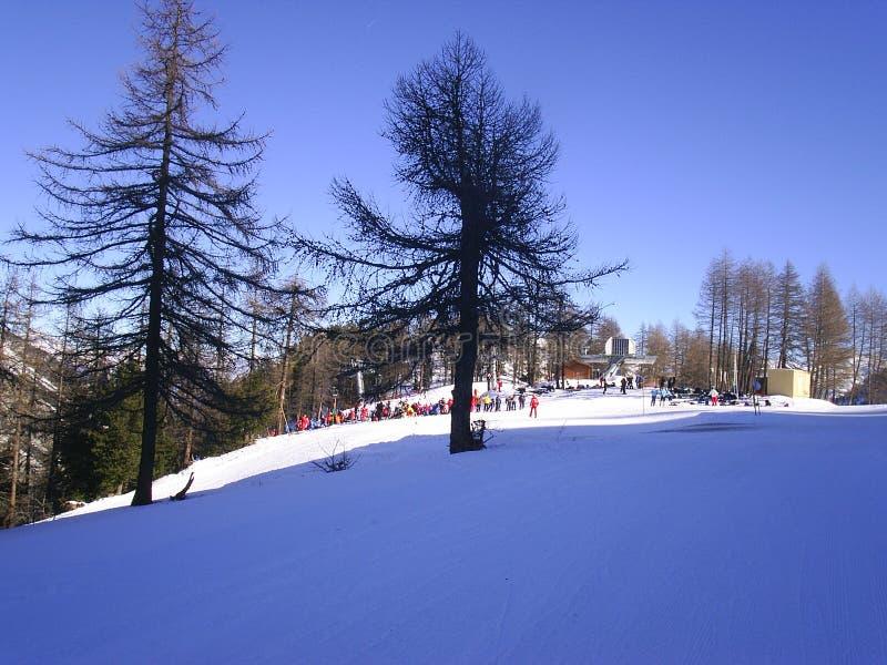 Winter alpine mountain scene under a blue sky royalty free stock photo