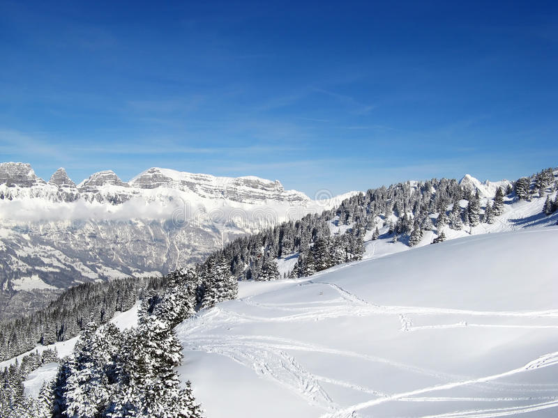 Winter in the alps stock images