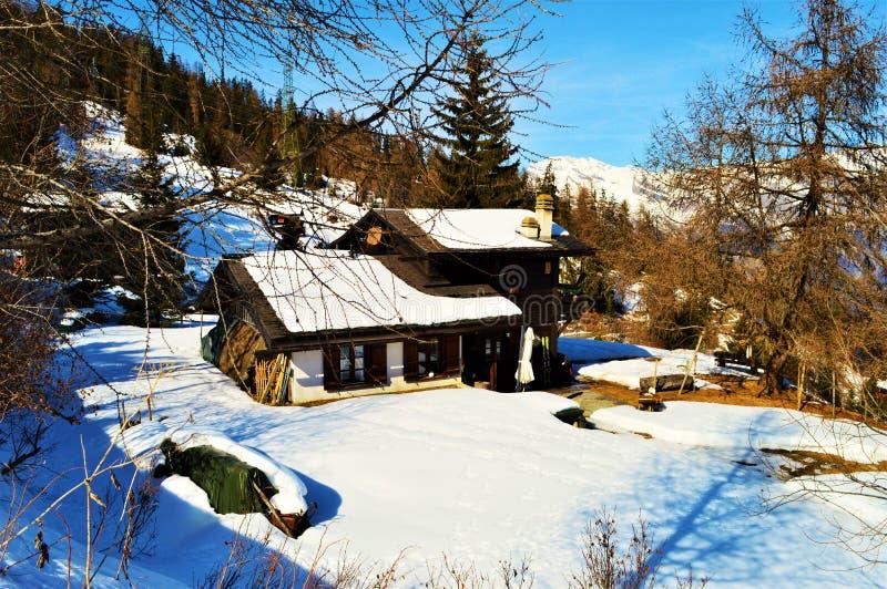 Winter and the Alps. Winter landscape of Swiss Alps, La Tzoumaz, Switzerland royalty free stock photography