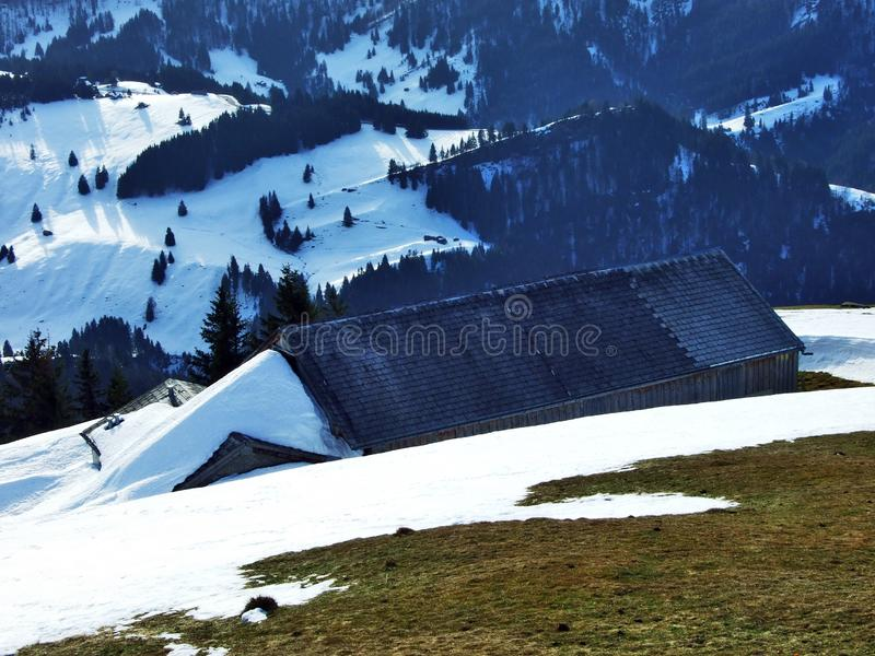 Winter ambiance on pastures and farms in the Urnasch municipality. Canton of Appenzell Ausserrhoden, Switzerland royalty free stock image