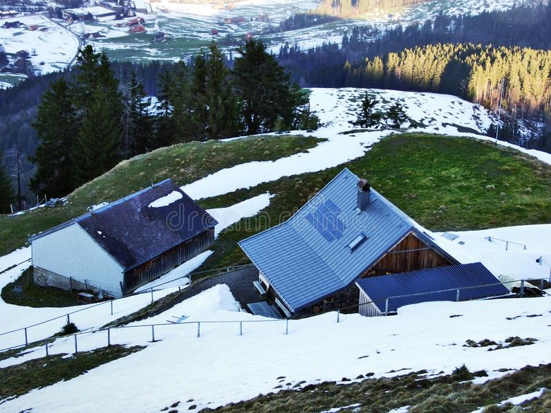 Winter ambiance on pastures and farms in the Urnasch municipality. Canton of Appenzell Ausserrhoden, Switzerland stock photo