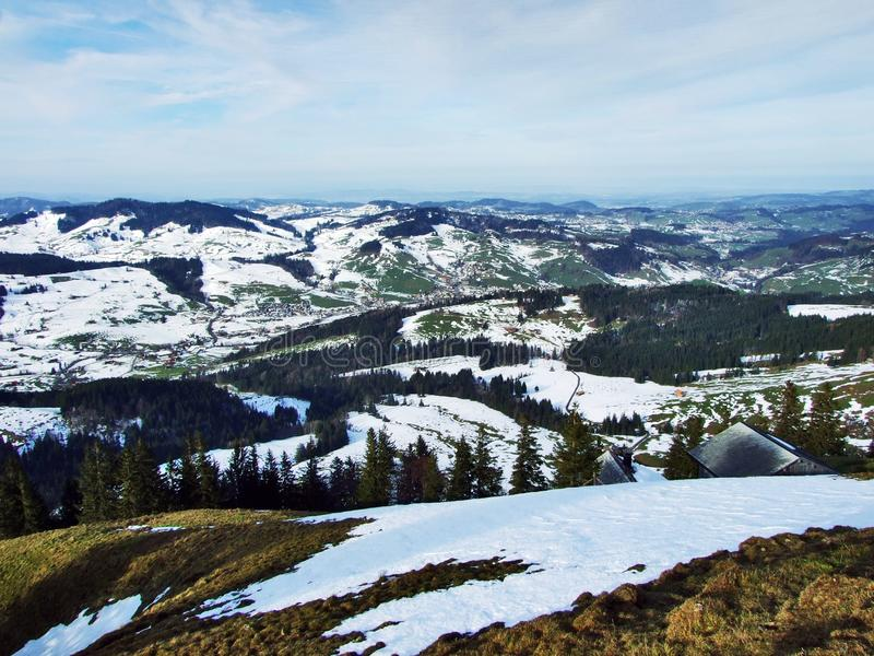 Winter ambiance on pastures and farms in the Urnasch municipality. Canton of Appenzell Ausserrhoden, Switzerland stock image
