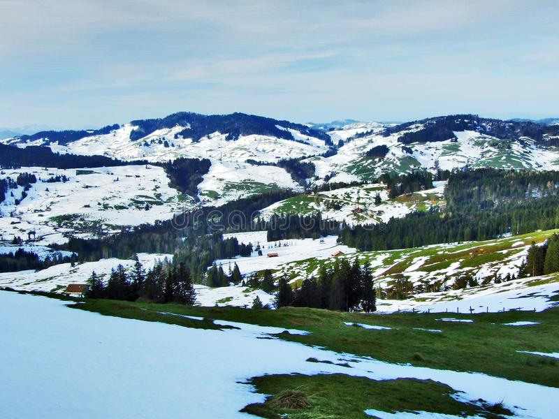 Winter ambiance on pastures and farms in the Urnasch municipality. Canton of Appenzell Ausserrhoden, Switzerland royalty free stock images