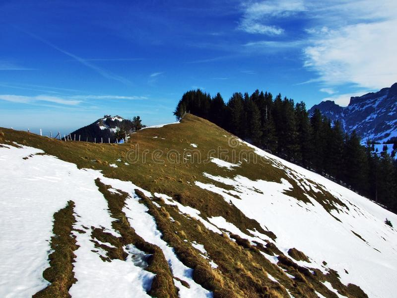 Winter ambiance on pastures and farms in the Urnasch municipality. Canton of Appenzell Ausserrhoden, Switzerland stock images