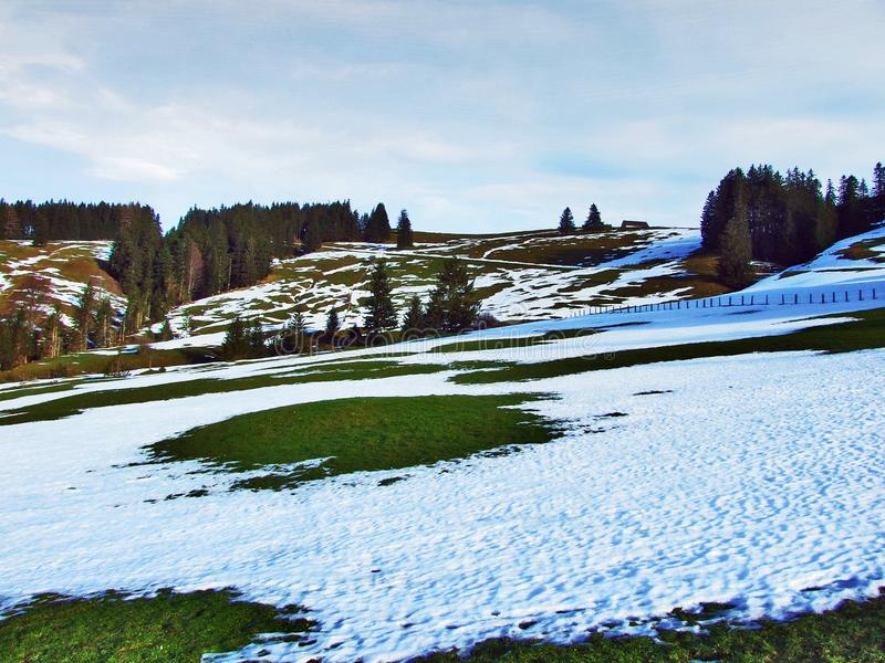 Winter ambiance on pastures and farms in the Urnasch municipality. Canton of Appenzell Ausserrhoden, Switzerland royalty free stock photography