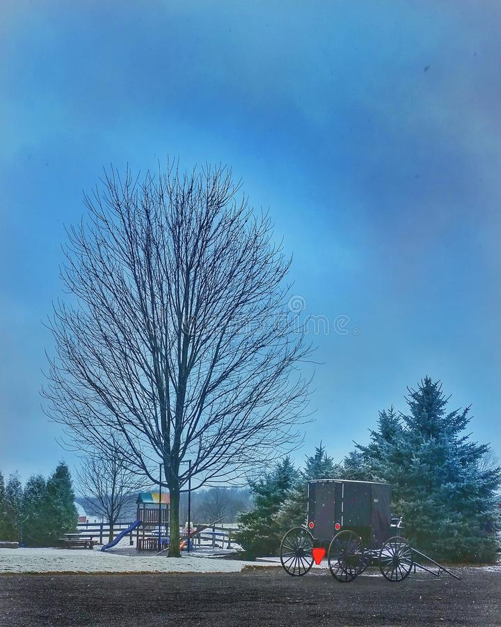 Winter at Amish farm royalty free stock photography