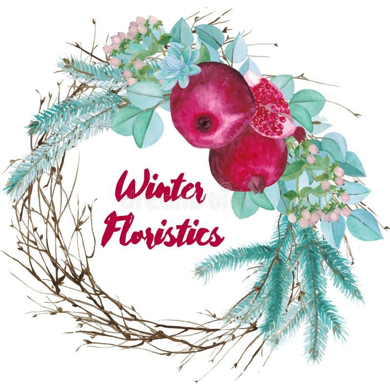 Winter-Aquarell-floristische Zusammensetzung vektor abbildung