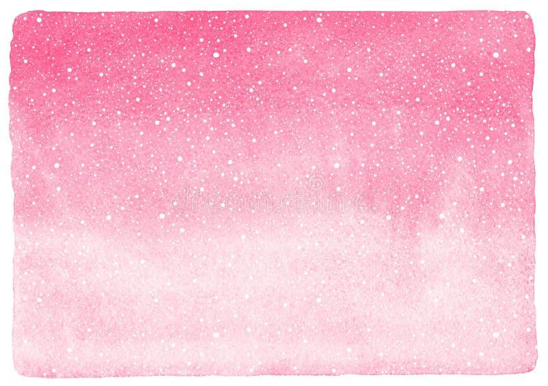 Winter, Aquarellhintergrund des neuen Jahres mit fallendem Schnee lizenzfreie abbildung