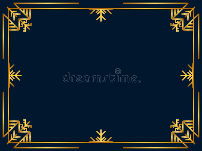 Winter Art deco frame golden color. Christmas vintage linear border. Design a template for invitations, leaflets and greeting card. S. The style of the 1920s and stock illustration
