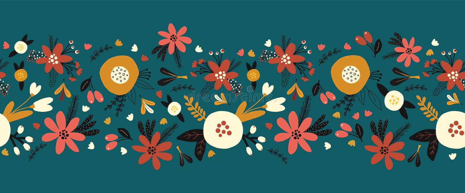 Winter autumn flowers seamless vector border. Florals and leaves pattern. Hand drawn holiday design Scandinavian style.  royalty free illustration