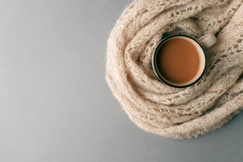 Winter and autumn hot drink. Hot chocolate or cocoa wrapped in woolen soft warming scarf on gray background. Seasonal concept, stock photo