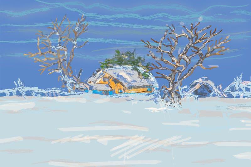 Winter-Bäume und Häuser lizenzfreie abbildung