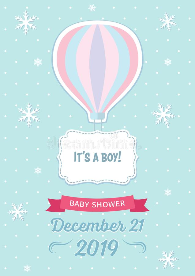 Winter baby shower template with hot air balloon, snowflakes, ribbon and decorative frame on the light blue dotted background. vector illustration