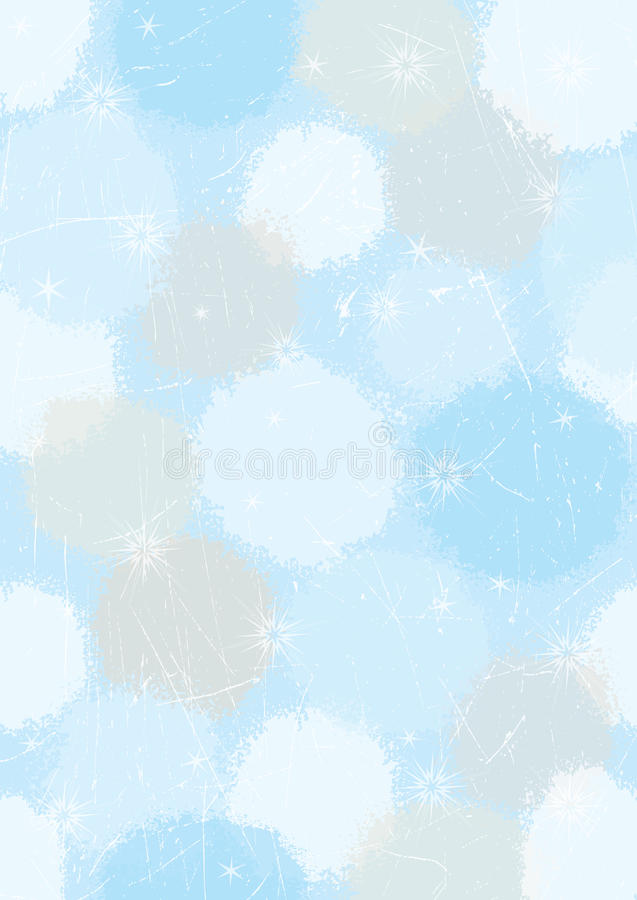Winter background. Illustrated winter background with stars and snowflakes stock illustration