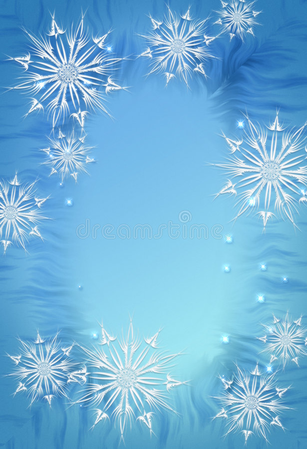 Winter background. Blue illustration with snowflakes and stars royalty free illustration