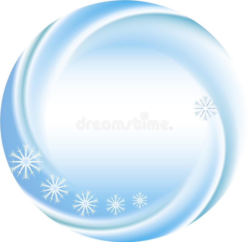 Winter background as a round frame with snowflakes stock illustration