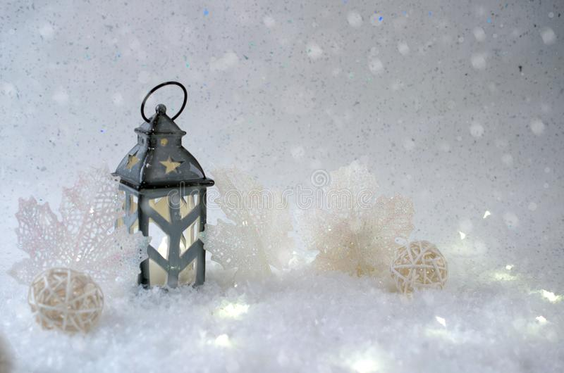 Winter background. Beautiful candlestick in the shape of a house stock photos