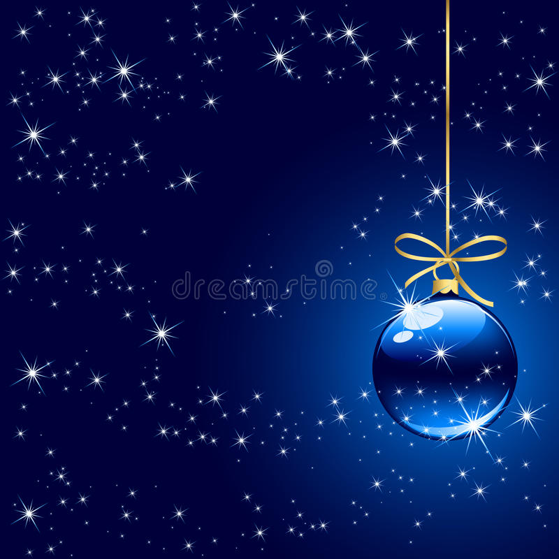 Winter background with blue christmas ball royalty free stock photography