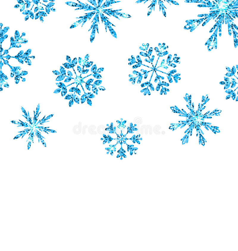 Winter Background with Blue Snowflakes for New Year vector illustration
