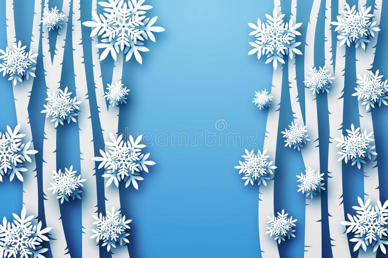 Winter background in blue tones, voluminous snowflakes and trees cut from paper, in layers. royalty free stock photos