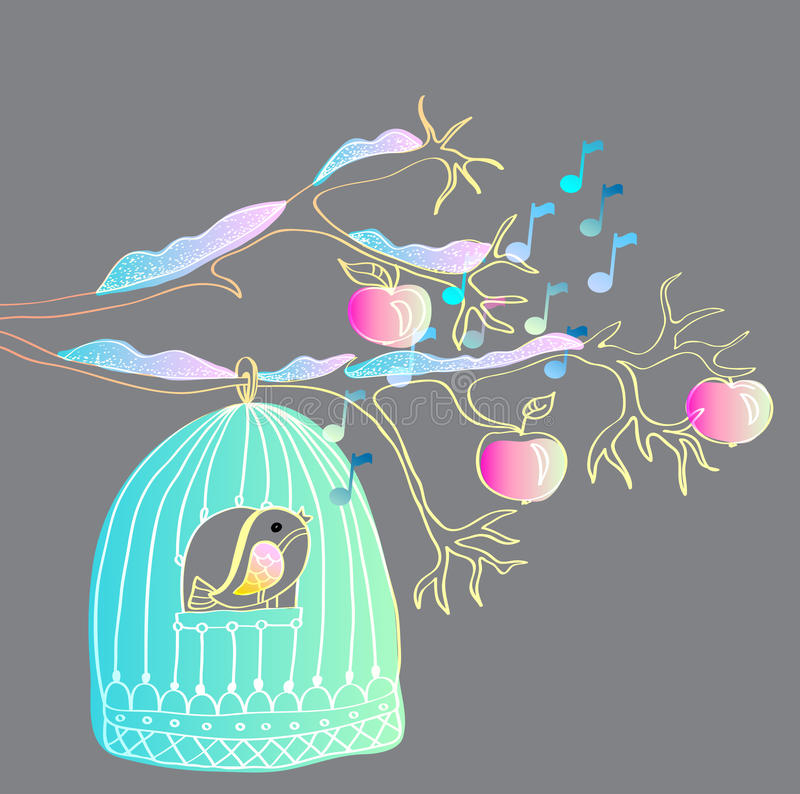 Winter background with cage and bird
