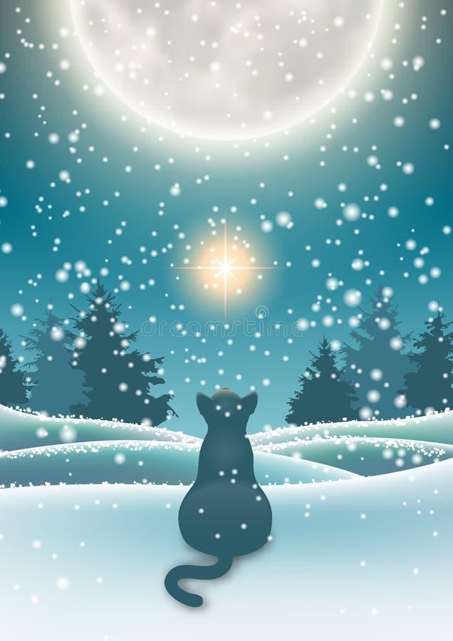 Winter background, cat sitting in snow under moon. Winter background, black cat sitting in snow under big shinny moon on dark sky, vector illustration, eps 10 stock illustration