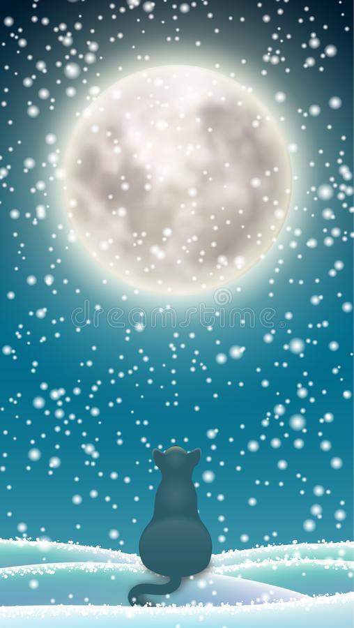 Winter background, cat sitting in snow under moon. Winter background for mobile phone, black cat sitting in snow under big shinny moon on dark sky, vector vector illustration