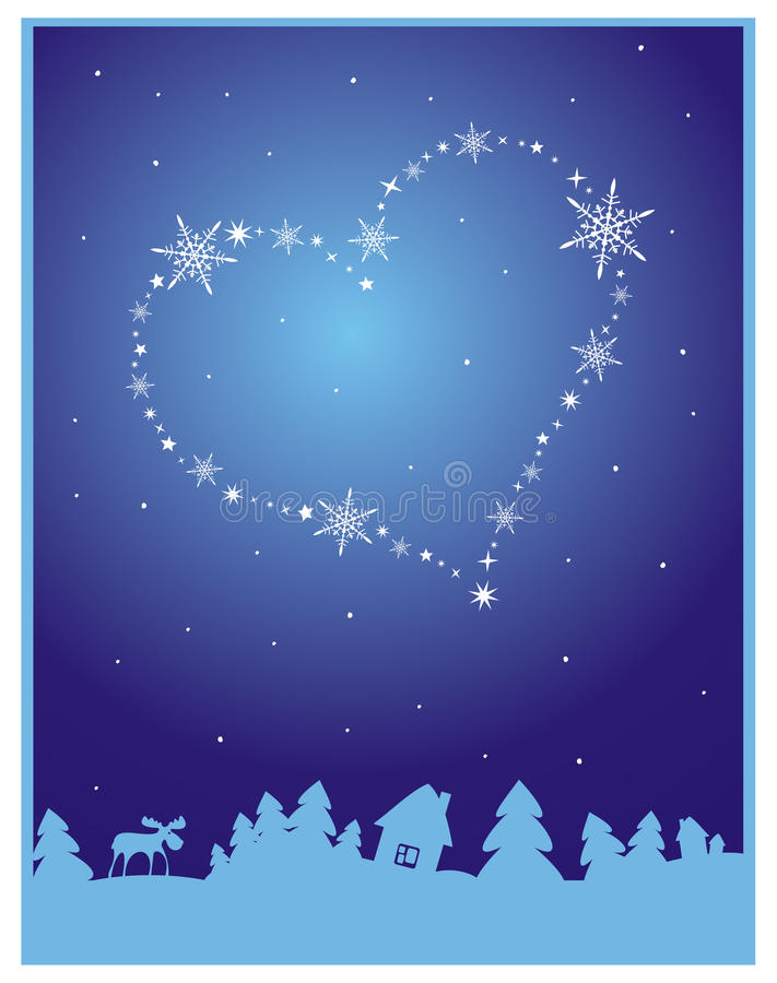 Download Winter Background With Heart In The Sky Stock Illustration - Image: 12323967