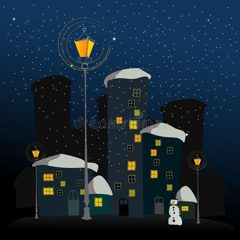 Download Winter Background With Illustrated City Stock Vector - Illustration of space, curves: 12037790