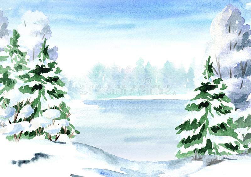 Winter background, landscape with fir, tree and lake. Watercolor hand drawn illustration. stock illustration