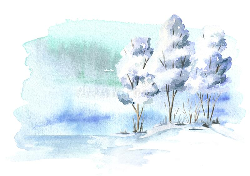 Winter background, landscape with tree. Watercolor hand drawn illustration. Winter background, landscape with tree. Watercolor hand drawn illustration vector illustration