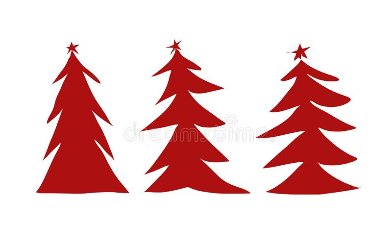Three red Christmas trees illustration royalty free illustration